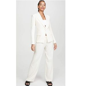 Theory Admiral Crepe Wide- leg Trousers in Rice Off White Size 8 NWT